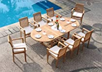 "Hot Sale Grade-A Teak Wood luxurious 7 pc Dining Set : 94"" Double Extension Mas Oval Table (Trestle Leg) and 6 Sam Stacking Arm Chairs"