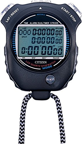 CITIZEN(シチズン) 防滴仕様(JIS防滴II型) スプリットタイム/ペースカウント機能/ストローク測定機能付き ストップウォッチ058 黒色 LC058-A02