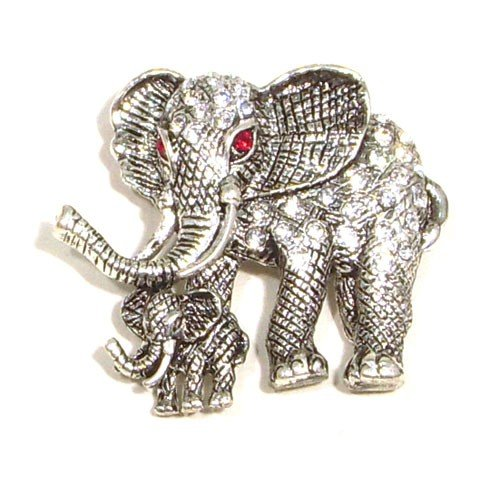 Clear Austrian Rhinestone Mother and Child Elephant