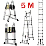 Finether 5M Portable Folding Telescoping A-Frame Ladder with Hinges Convient for Home Loft Office
