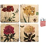 Garden Flowers Coaster Set Of 4 And Gift Bag