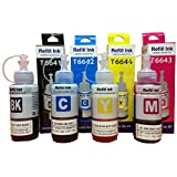 Epson Ink All Colors (T6641-B,T6642-C,T6643-M,T6644-Y) 70 Ml Each Compatible For L100/L110/L200/L210/L300/L350...