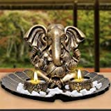 Archies Polyresin Ganesha Candle Holder (Gold, 184794, 14 Cm X 13 Cm X 7 Cm)