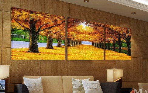 ASIA MODERN ABSTRACT WALL ART PAINTING ON CANVAS NEW Style ! (NO FRAME)with The morning Golden Road