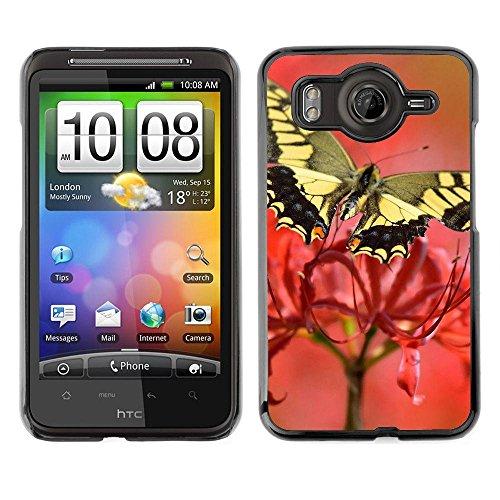 Gomma caso di Shell duro della copertura di accessorio di protezione BY RAYDREAMMM - HTC G10 - Moth Butterfly Flower Spring Nature