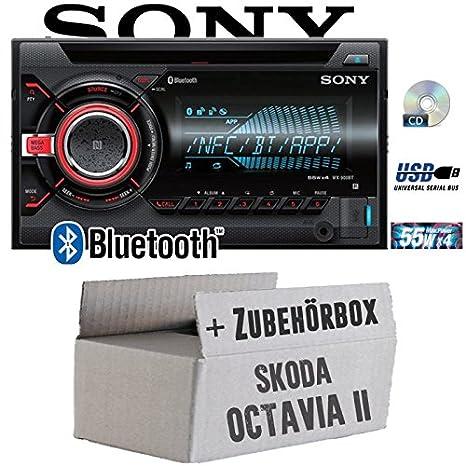 Skoda Octavia 2 1Z - Sony WX900BT - 2DIN Bluetooth CD/MP3/USB Autoradio - Einbauset