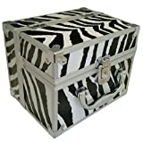 ZEBRA PRINT METAL BEAUTY MAKE UP NAIL COSMETIC SALON BOX CANTILEVER VANITY CASE BOXby TOOLTIME