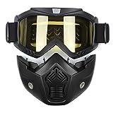 AUDEW バイク用 ヘルメットマスク 取り外し可能 モジュラーフェイスシールドゴーグル イエロー