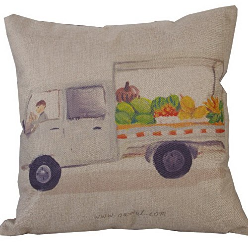Retro Cotton Linen Square Vintage Throw Pillow Case Home Decorative Mobile fruit stand (Mobile Fruit Stand compare prices)