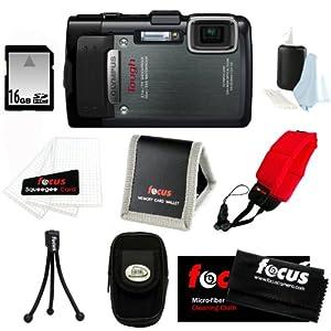 Olympus Stylus TG-830 iHS Digital Camera (Black) with 16 GB Memory Card + Camera Case + Floating Strap + Accessory Bundle