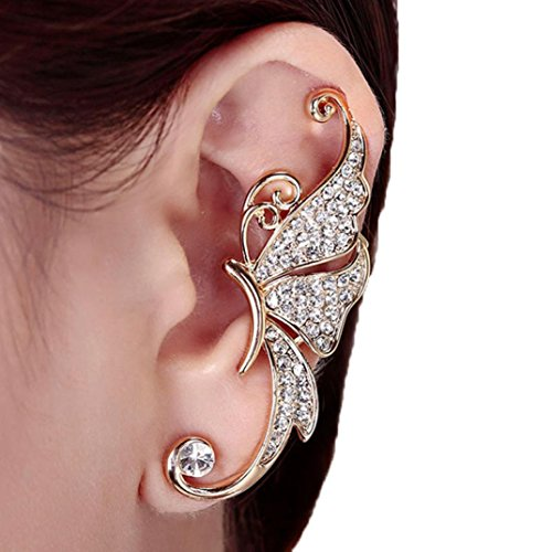 Kingfansion Splendid Cute Crystal Butterfly Wings Ear Clip Clamp Earring Fashion Jewelry for Women(only 1pc) (White)