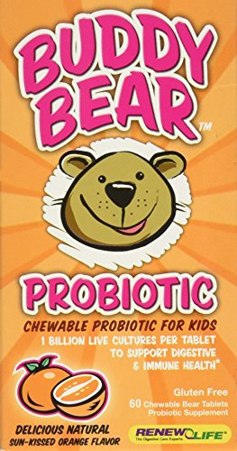 Renew Life Buddy Bear Probiotic, Sun-Kissed Orange Flavor, 60-Count