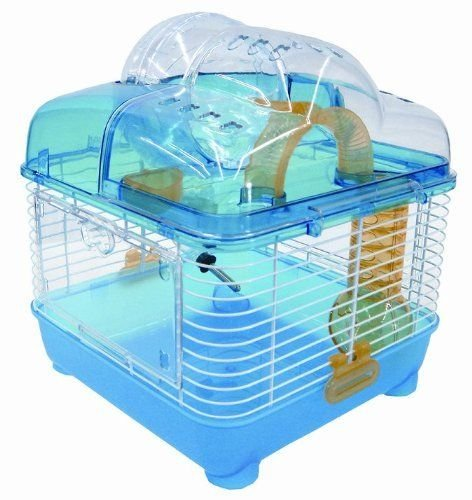 YML-Clear-Plastic-Dwarf-Hamster-Mice-Cage-with-Ball-on-Top-Blue