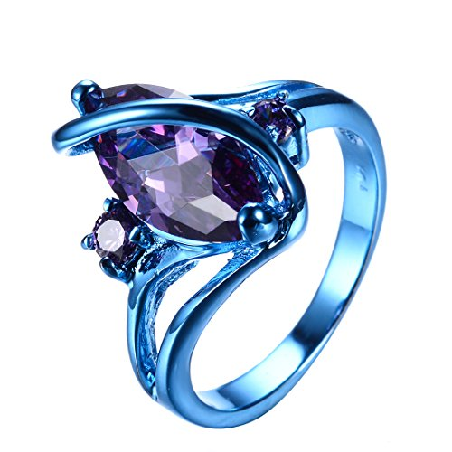 """RongXing Jewelry New Purple Cz Ring,Gold-Plated-Copper blue """"S"""" Rings"""