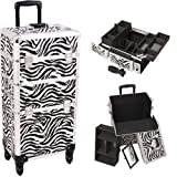 33 Inch Zebra Print Pattern 2 in 1 Interchangeable Series Cosmetic Train Suitcase Make Up Travel Tote with 4-360 Degree Rotating Wheels and Telescoping Tow Handle Beauty Supply Carrying Case by Mygift