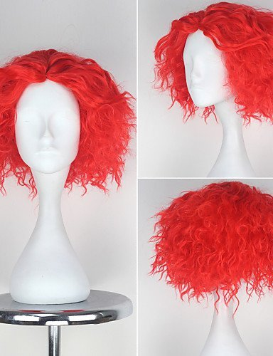 [ANDP Alice in Wonderland Mad Hatter Wig Men's Short Curly Movie Cosplay Wig , red] (Female Mad Hatter)