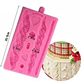 Joinor 3D Knitting Texture Silicone Mold Christmas Cake Border Fondant Molds Cake Decorating Tools Chocolate Gumpaste Moulds (Color: pink or white)