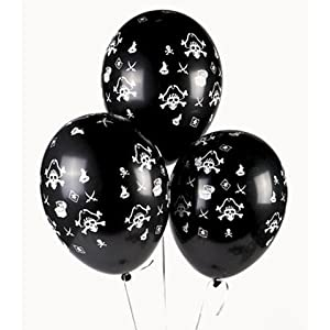Click to buy Pirate Birthday Party Ideas: 25 Skull and Crossbones latex balloons from Amazon!