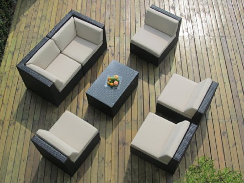 Genuine Ohana Outdoor Patio Wicker Furniture 7pc Sofa Set (Sunbrella Beige) image