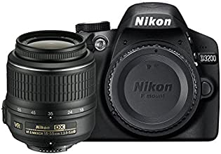 Nikon D3200 SLR-Digitalkamera (24 Megapixel, 7,4 cm (2,9 Zoll) Display, Live View, Full-HD) Kit inkl. AF-S DX 18-55 VR II Objektiv schwarz