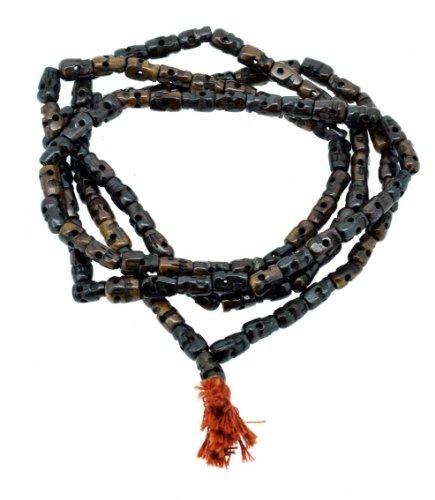 Dark Brown Yak Bone 108 Beads Skull Mala Prayer Beads Necklace, Skull Necklace (Black Skull)