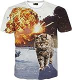 (ピゾフ)Pizoff メンズ 猫柄 Tシャツ 丸首半袖 ネコ柄 爆発柄 カッコいい 原宿系 おもしろ 個性的 快適 カジュアル V系 男女兼用 トップス Y1648-64-XL