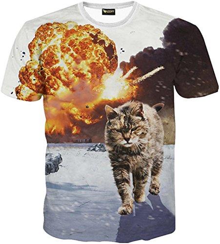(ピゾフ)Pizoff メンズ 猫柄 Tシャツ 丸首半袖 ネコ柄 爆発柄 カ...