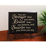 """Timber Creek Design Decorative Carved Wood Sign with Quote """"You are Stronger than you seem, Braver than you believe, and Smarter than you think you are."""" by Christopher Robin 3D Carved 12""""x9"""" Black - Indoor"""