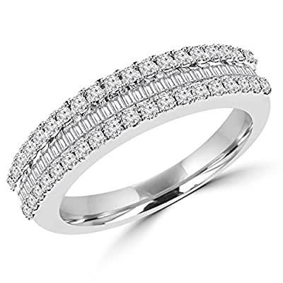 3/5 CTW Antique Vintage Round and Baguette Diamond Wedding Anniversary Band Ring in 14K White Gold