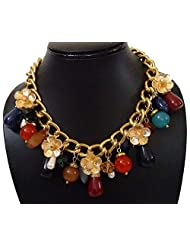 BID4DESIRE GOLDEN FLOWER IN CHAIN WITH MULTICOLOR BEADS NECKLACE FOR WOMEN