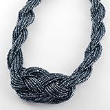Charming Unique Handmade Gray Black Braiding Beaded String Collar Bib Statement Necklace