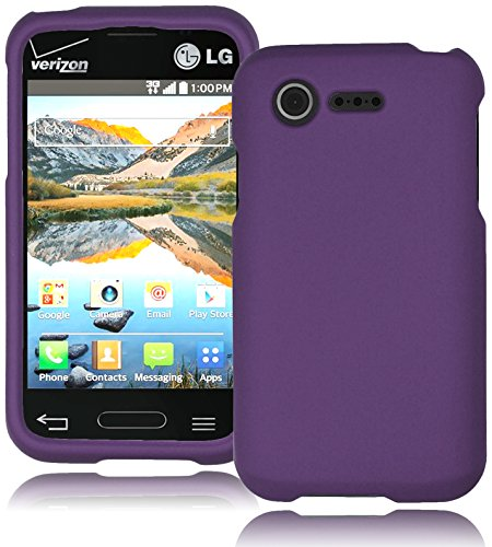 Bastex Heavy Duty Hybrid Case For Lg Optimus Fuel L34C Purple Rubberized Plastic Cover Snap On Hard Armorcase Cell Phone Shield Protector Shell front-742354
