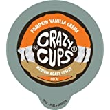 Crazy Cups Decaf Pumpkin Vanilla Creme Flavored Coffee Single Serve Cups for Keurig K Cups Brewer, 22 Count