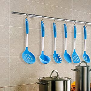 Landoom Silicone Kitchen Utensil Set, Stainless Steel Cooking Tools (Turner,Spoon,Ladle) 6 Pieces - Baby Blue