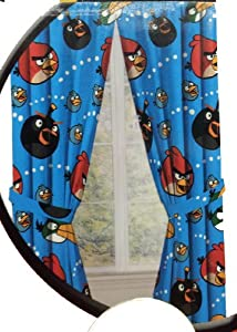 """Angry Birds Childrens Window Panels with Tie-backs, 42"""" x 63"""" each"""