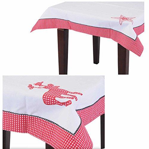 LS Design Stoff Tischdecke Baumwolle Landhaus Stern Rot Weiss Weihnachten