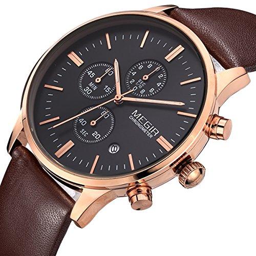 Megir Mens Vintage Chronograph Luminous Brown Leather Quartz Wrist Watches 2