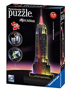 Ravensburger 12566 - Empire State Building bei Nacht - Night Edition 3D Puzzle Bauwerke, 216 Teile