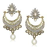 Meenaz Traditional Earrings Fancy Party Wear Kundan Moti Pearl Daimond Earrings For Women - T349