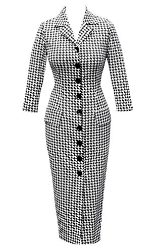 1950's 50's Houndstooth wiggle pencil dress. Vintage Rockabilly Pin Up Party Wedding. Made in the UK.