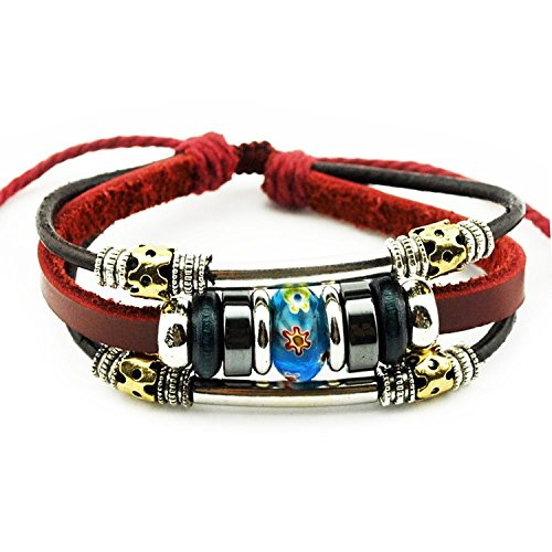 Real Spark Wine Red Fashion Silver Tone Tube Flowewrs Bead Adjustable Length Single Wrap Bracelet (Blue)