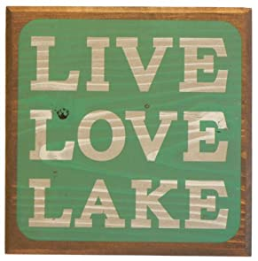Live Love Lake Sign - Green - Lake House Sign - Rustic Decor - Large Solid Wood 11x11x1.5 - Makes a Great Decoration, Wall Art, or Gift in Any Beach House, Cabin, Cottage, or Lodge. Made in USA.