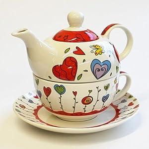 teekannen set tea for one teekanne mit tasse und untersetzer blumen herzen rot 17x13 cm im. Black Bedroom Furniture Sets. Home Design Ideas