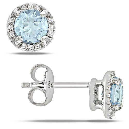Sterling Silver 1.06 CT TGW Sky Blue Topaz 0.07 CT TDW Diamond Stud Earrings (G-H, I3)