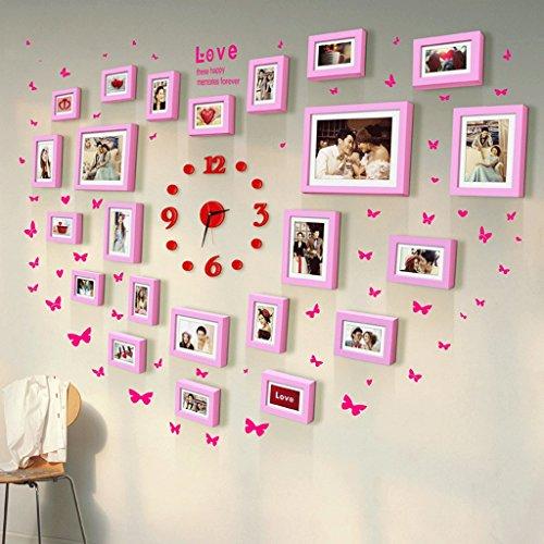 5-Zoll-7-Zoll-10-Zoll-herzförmigen Holzrahmen Wand Kombination Hochzeit art photo Hochzeit war Massivholz-Schlafzimmer Fotowand