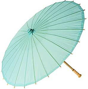 Luna Bazaar Paper Parasol (20-Inch, Robin Egg) - Chinese/Japanese Paper Umbrella - For Children, Decorative Use, and DIY Projects