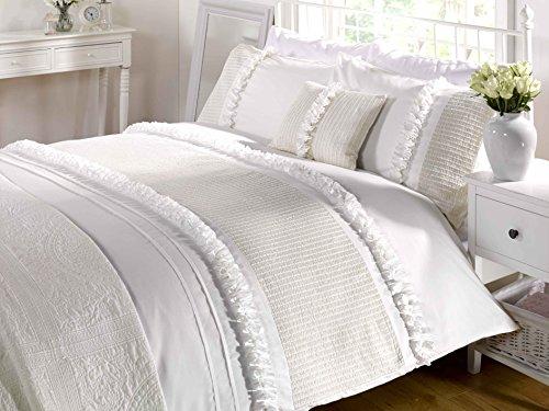 Harmony Usa Queen (230 X 220Cm - Uk King Size) Cream Ruffled Cotton Blend Duvet Comforter Cover Set #Ytineres *Rap* front-1014722
