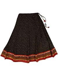 Jaju Women's Cotton Ethnic Skirt (Black, X-Large)