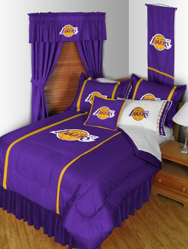 Los Angeles Lakers 3 Pc TWIN Comorter Set and One Matching Window Valance/Drape Set - (1 Comforter, 1 Sham, 1 Bedskirt, 1 Matching Window Valance/Drape Set) SAVE BIG ON BUNDLING! at Amazon.com