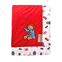 Paddington Bear Framed Red Velour Receiving Blanket Baby Neutral